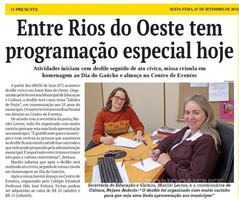 Matéria do jornal O Presente referente a promgramação especial de 07 de Setembro, no município de Entre Rios do Oeste.  Fonte: Acervo O Presente - FOTO 9 -