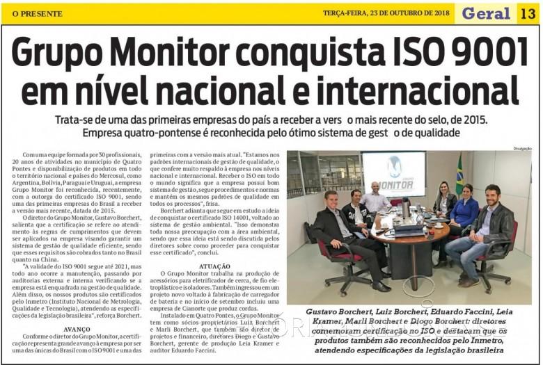 Destaque do jornal O Presente referente a certificação do Grupo Monitor, da cidade de Quatro Pontes.  Imagem: Acervo O Presente - FOTO 12 -