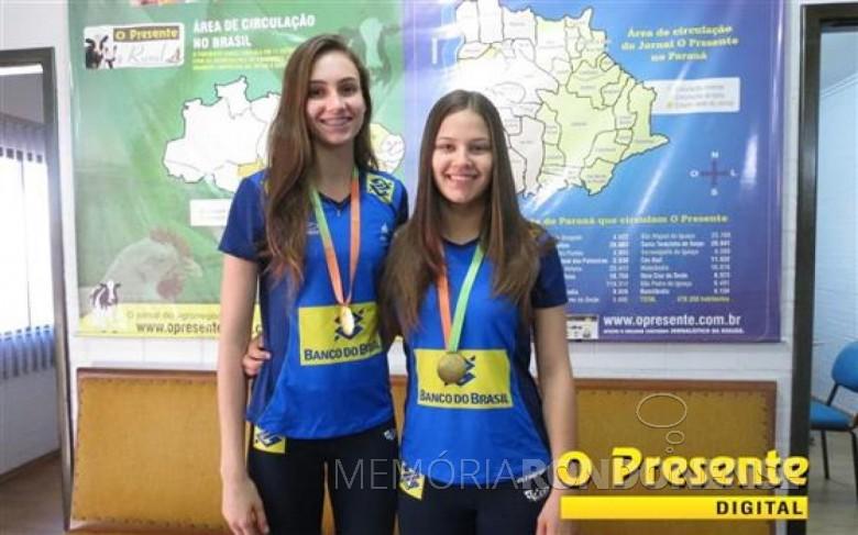 Larissa Besen e Júlio Moreira Gobs atletas rondonenses de vôlei medalhistas de ouro no campeonato Sul-Americano, em Lima, Perú.  Imagem: Acervo O Presente Crédito: Joni Lang - FOTO 3 -