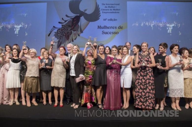 Comemoração conjunta das mulheres empreendedoras homenageadas na 10ª edição do prêmio