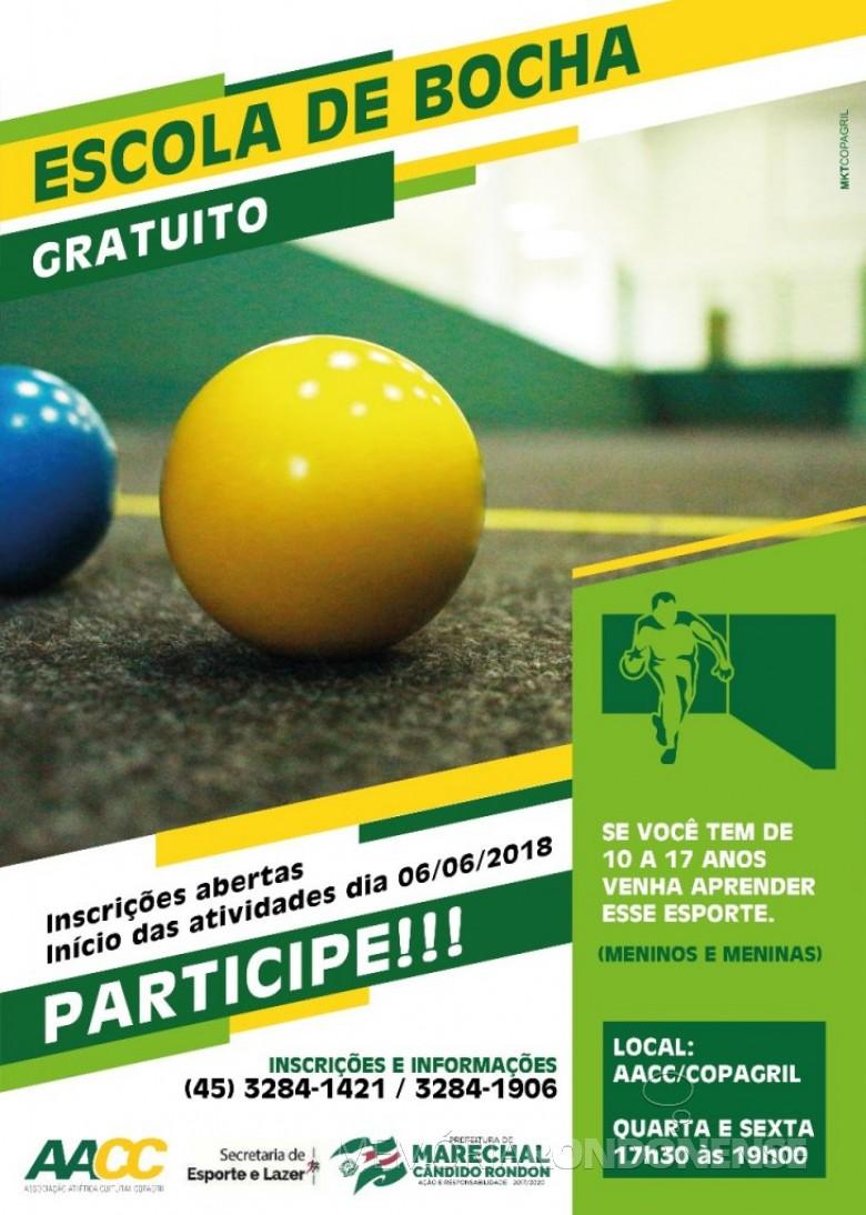 Cartaz-convite para a Escola de Bocha, organizado em Marechal Cândido Rondon.  Imagem: Imprensa PM-MCR - FOTO 10  -