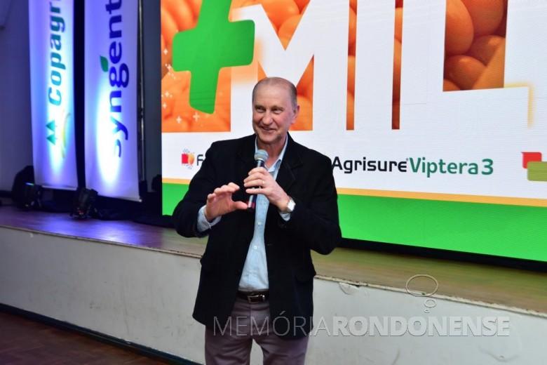 Ricardo Silvio Chapla, diretor-presidente da Copagril,  em sua alocução na abertura da solenidade Grano Top Milho 2018.  Imagem: Acervo Comunicação Copagril - Crédito: Marcelo Leobett - FOTO 13 --