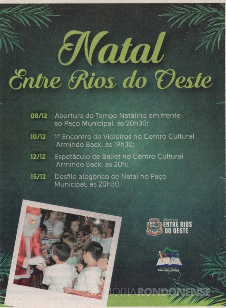 Publicação da agenda 2017 de eventos natalinos na cidade de Entre Rios d o Oeste.  Imagem: O Presente - FOTO 6 -