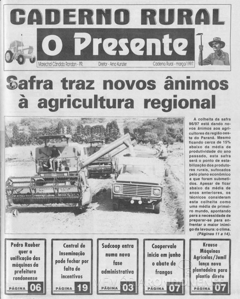 Capa do primeiro  caderno Rural de O Presente, que circulou em março de 1997.  Imagem: Acervo O Presente - FOTO 4 -