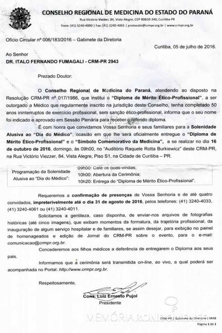 Comunicação e convite do Conselho Regional de Medicina do Paraná ao Dr. Italo Fernando Fumagalli para receber o