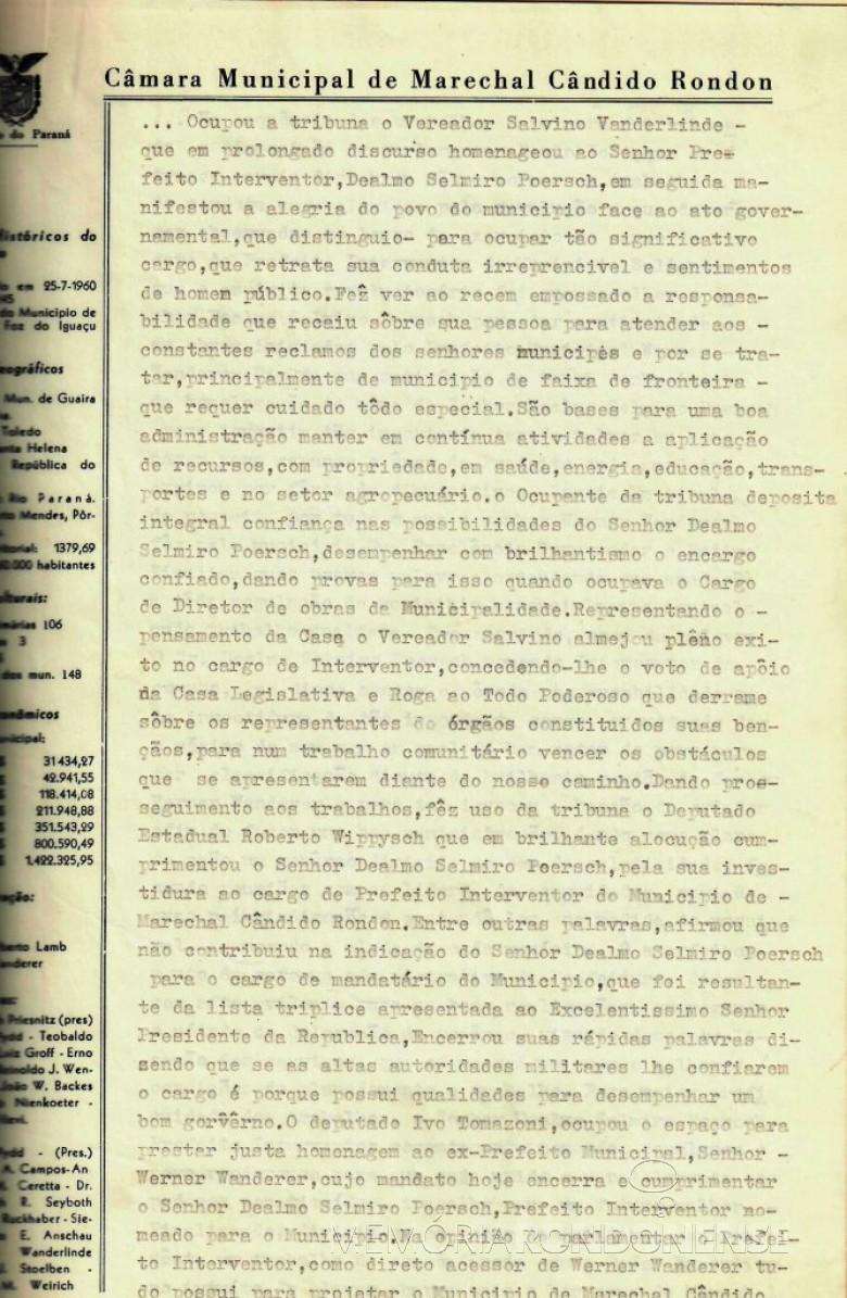 Quarta folha da ata que deu posse a Dealmo Selmiro Poersch .  Imagem: Acerco Câmara Municipal de Marechal Cândido Rondon - FOTO 6  -