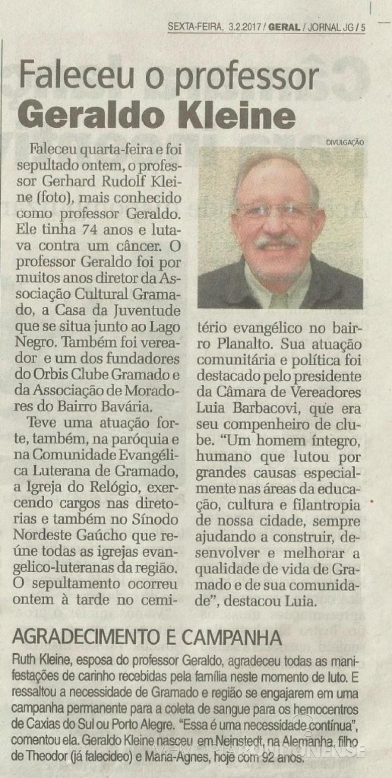 Recorte do Jornal de Gramado publicando o falecimento do professor Gerhard Kleine.  Imagem: Acervo Dieter Kleine - FOTO 6 -