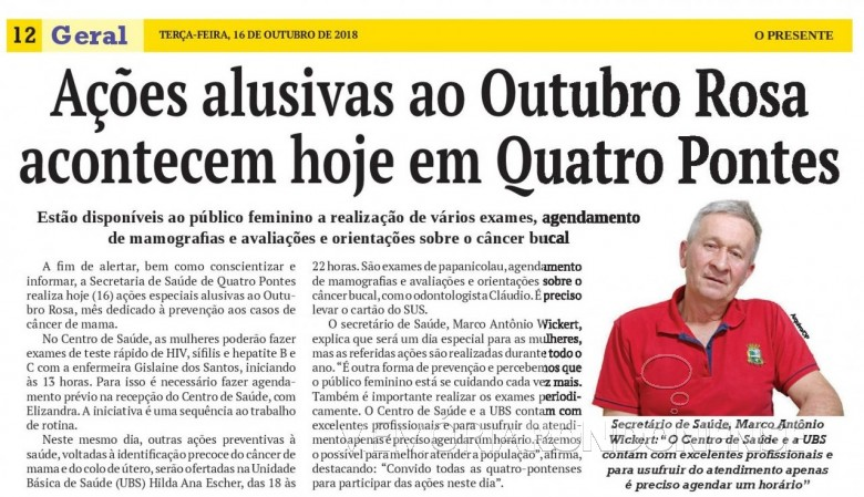 Matéria de O Presente referente as ações do Outubro Rosa no município de Quatro Pontes.  Imagem: Acervo do jornal - FOTO 17 -