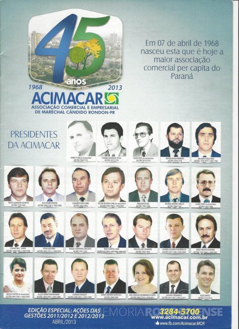 Capa da revista comemorativa dos 45 anos da Acimacar.  Imagem: Acervo Acimacar - FOTO 5 _