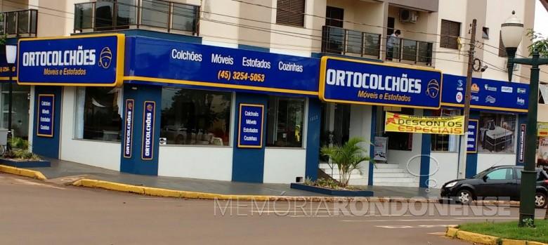 Fachada da loja do Ortocolchões  a Avenida Rio Grande do Sul, em Marechal Cândido Rondon.  Imagem: Acervo da empresa/Facebook.  - FOTO 6  -