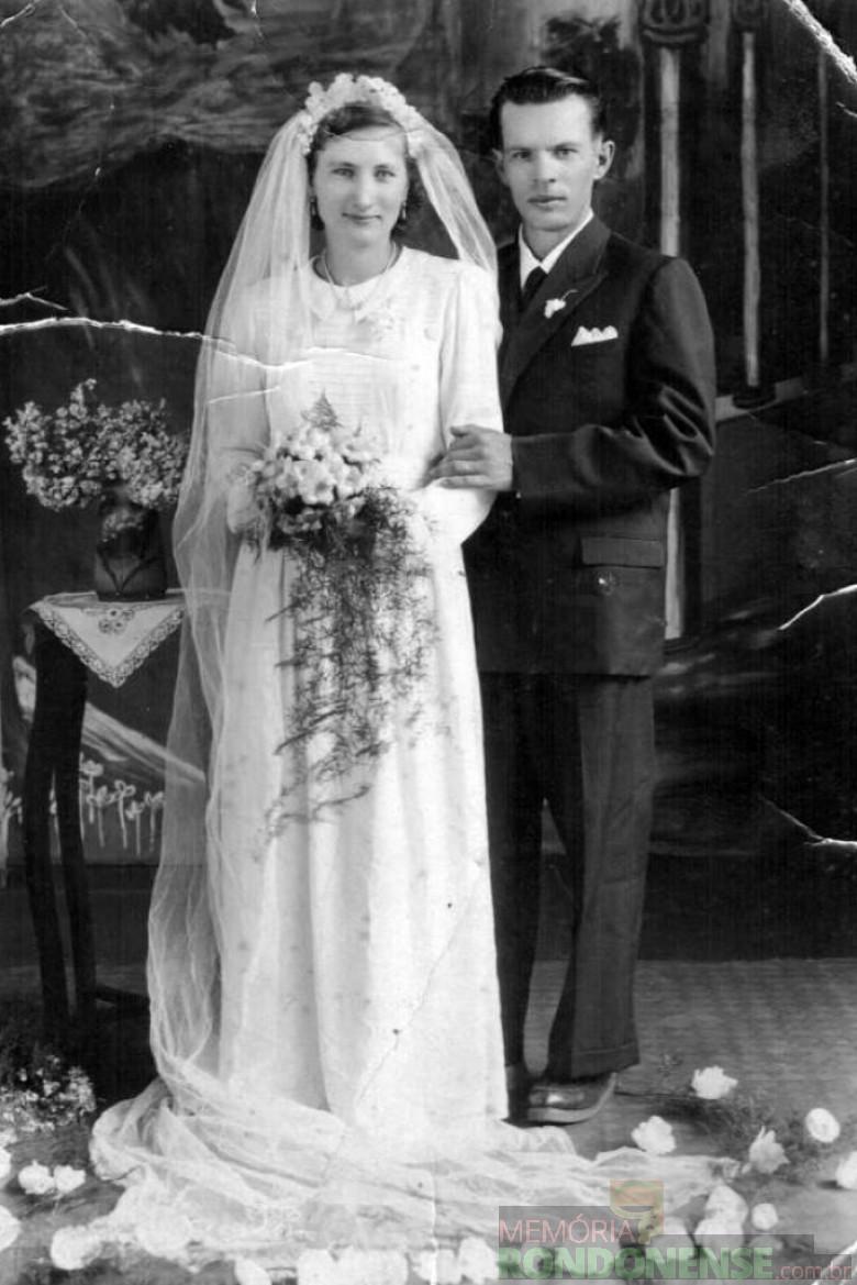 O pioneiro Bertoldo Grun no dia de seu casamento com a pioneira Lilli Weimann, em 27 de dezembro de 1952.  Imagem: Acervo Claudio e Merci Lindner