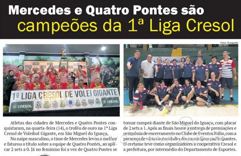 Equipes campeãs da 1ª Liga Cresol de Volei Gigante em destaque no jornal O Presente.  Imagem: Acervo do informativo - FOTO 3 -