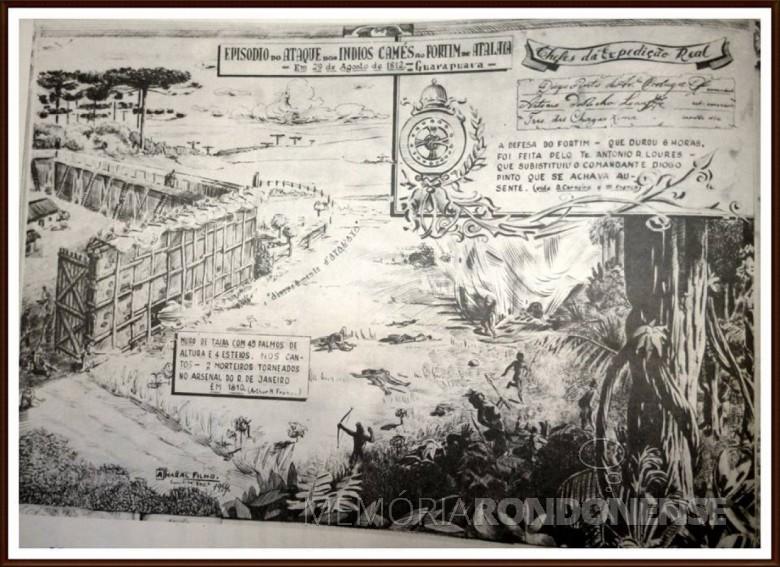 Representação iconográfica de uma ataque indígena ao Fortim Atalaia, em 1812.  Acervo Desconhecido - Autoria: Amaral Filho (1954) - FOTO 1 -