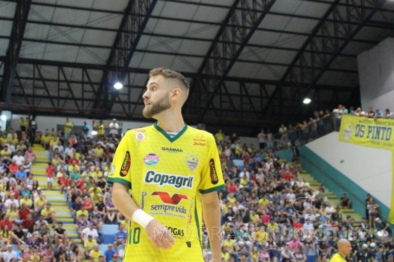 Atleta Xande que fez o gol de nª 2.700 para a Copagril Futsal desde a estréia do time em 2003 na Liga Nacional de Futsal, no gogo contra o Assoeva, em abril de 2019.   Imagem: Acervo Copagril Futsal - FOTO 14