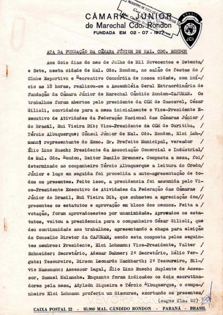 Ata de fundação da JCI - Marechal Cândido Rondon - página um.  Imagem: Acervo JCI - FOTO 5 -