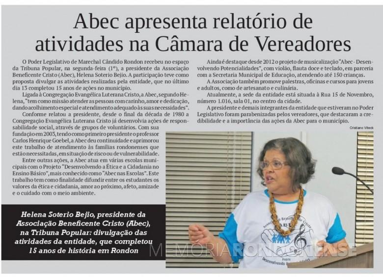 Destaque no jornal O Presente ref. a apresentação do relatório da ABEC na Câmara Municipal de Marechal Cândido Rondon.  - FOTO 16 -