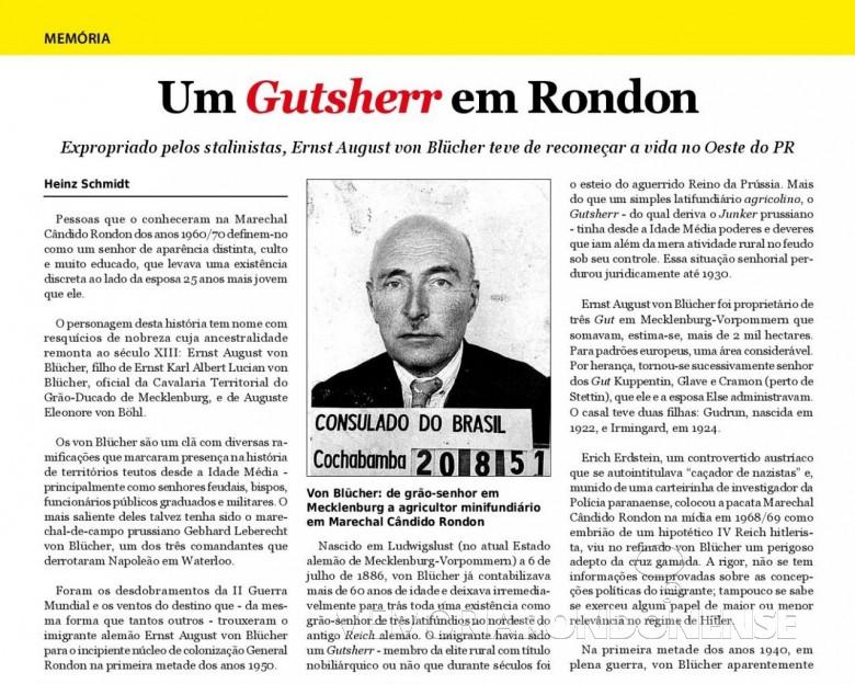 Reportagem (1ª parte) do jornalista cascavelense Heinz Schmidt, na revista Pitoco e para o portal