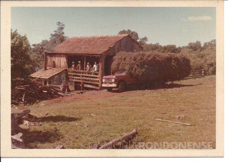 Alambique para extração de óleo de hortelã construído pelo pioneiro Edgar Weber, em suas terras no distrito de Bom Jardim, na década de 1970.  Imagem: Acervo Nelsi Weber Fischer - Santa Clara do Sul, RS - FOTO 4 -