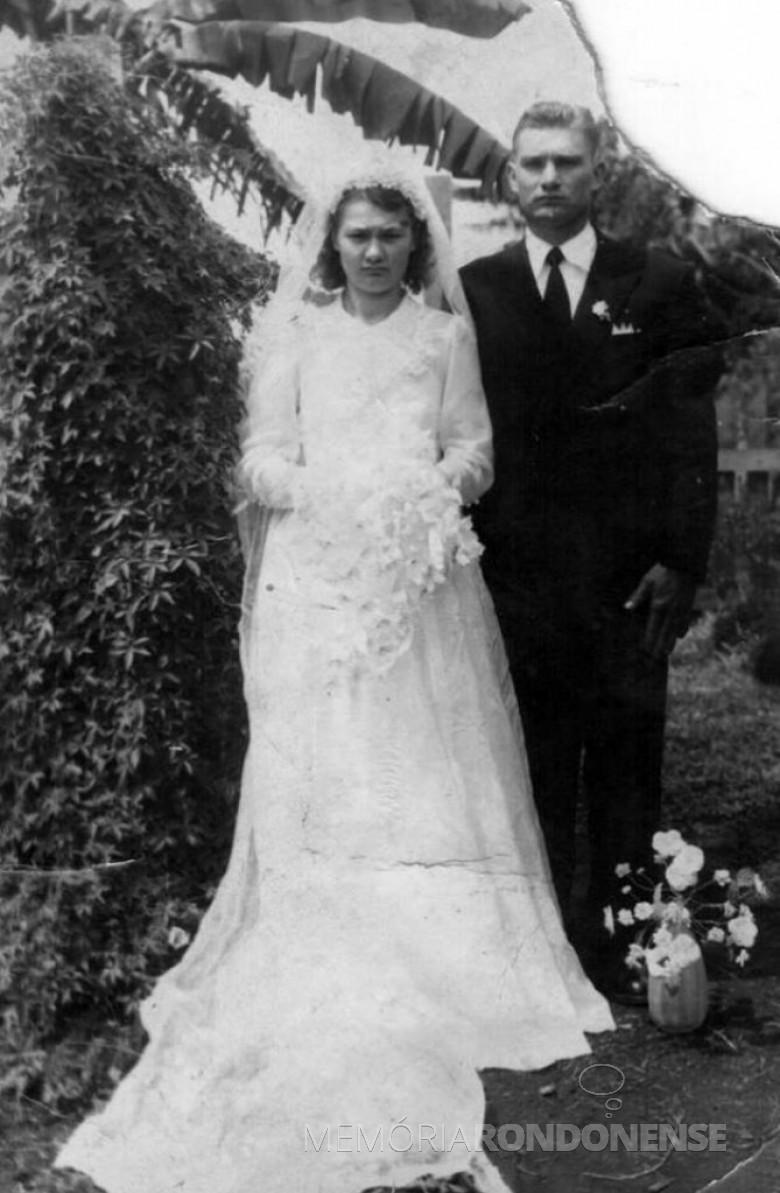 A pioneira Herta Hedwig Weimann , falecida em 13 de fevereiro de 1998, no dia de seu casamento com Armin Lindner, em 19 de março de 1955, na então General Rondon. Acervo: Claúdio e Mercei Lindner - FOTO 2 -