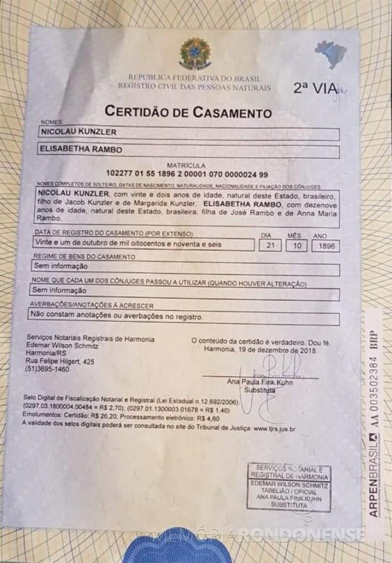 Certidão de casamento de Nicolau Kunzler e Elizabetha Rambo, avós paternos de Adolfo Oscar Kunzler.