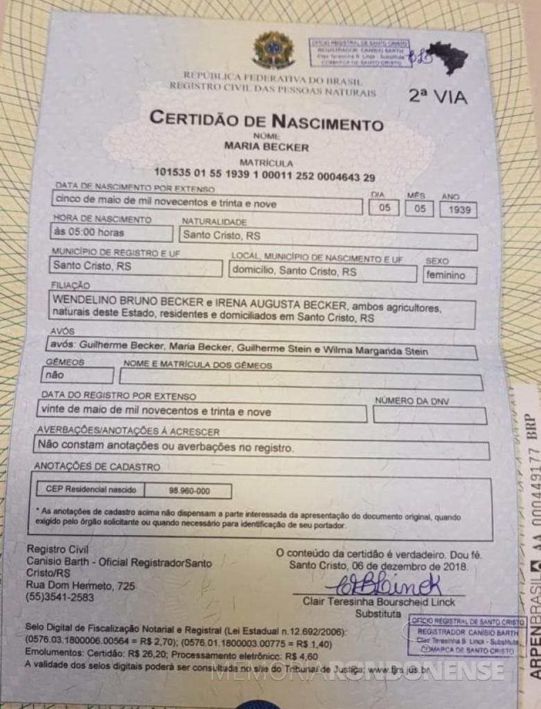 Certidão de nascimento de Maria Becker, esposa de Adolfo Oscar Kunzler.