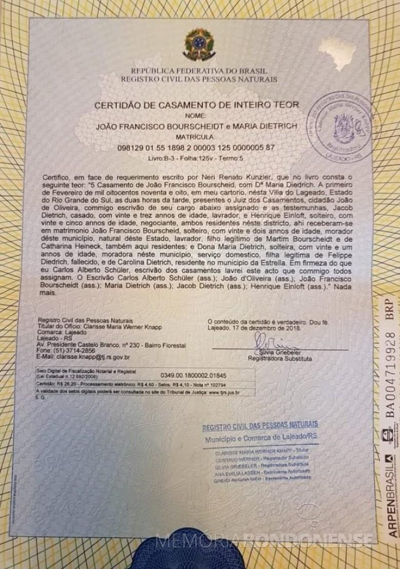 Certidão de casamento de Maria Dietrich e João Francisco Bourscheidt, avós amternos de Adolfo Oscar Kunzler.