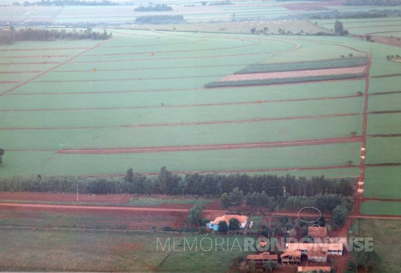 Vista aérea da propriedade do casal Adolfo Oscar Kunzler na Linha São Carlos, no distrito rondonense de Porto Mendes.