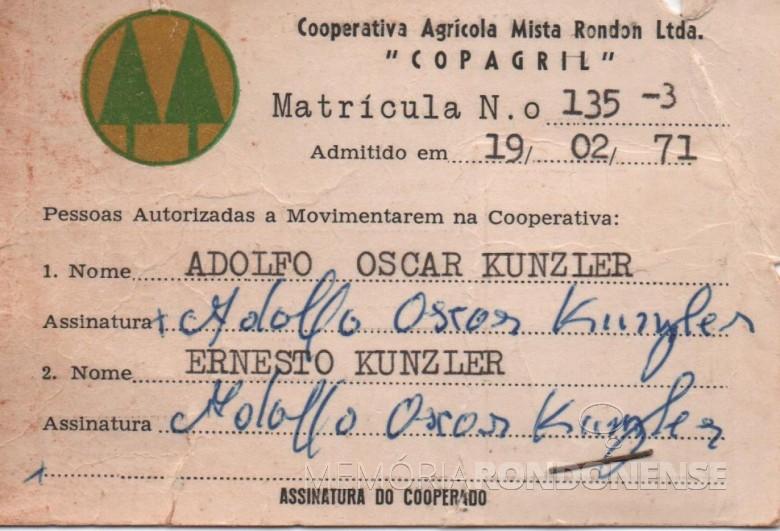 Carteira Adolfo Oscar Kunzler como associado da Copagril.