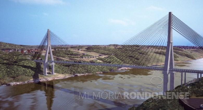 Projeção da Ponte da Integração depois de concluída. Imagem: Acervo Revista 100 Fronteiras - Foz do Iguaçu.