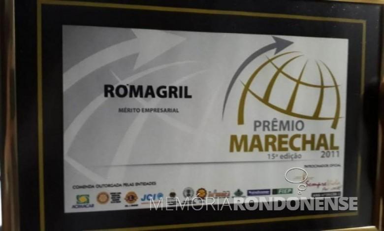 Diploma do Mérito Empresarial do Prêmio Marechal 2011.