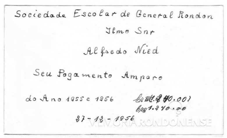 Recibo de anuidade Escola Primária de General Rondon, em 19561956.