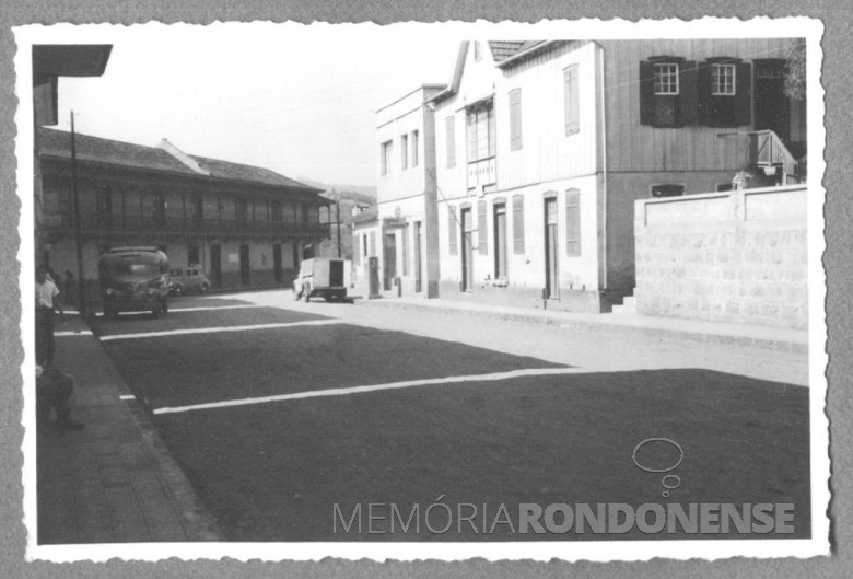 Estação da Estrada de Ferro, em Piratuba, SC, em foto de 1951.