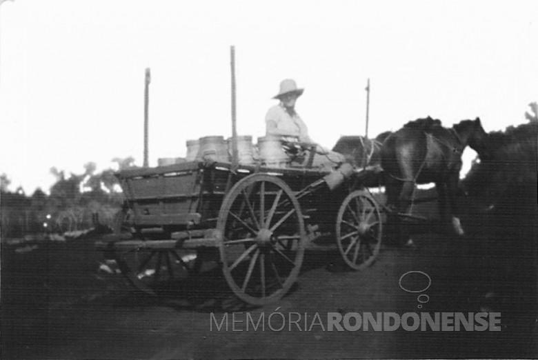 Pioneiro Arno Sippert fazendo entrega de leite com carroça, em  1957.