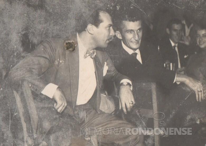 Alfredo Bausewein (d) e o amigo Pedro ... , enfermeiro do Hospital Marechal Rondon, quando de propriedade do médico Aylson Confúcio de Lima.
