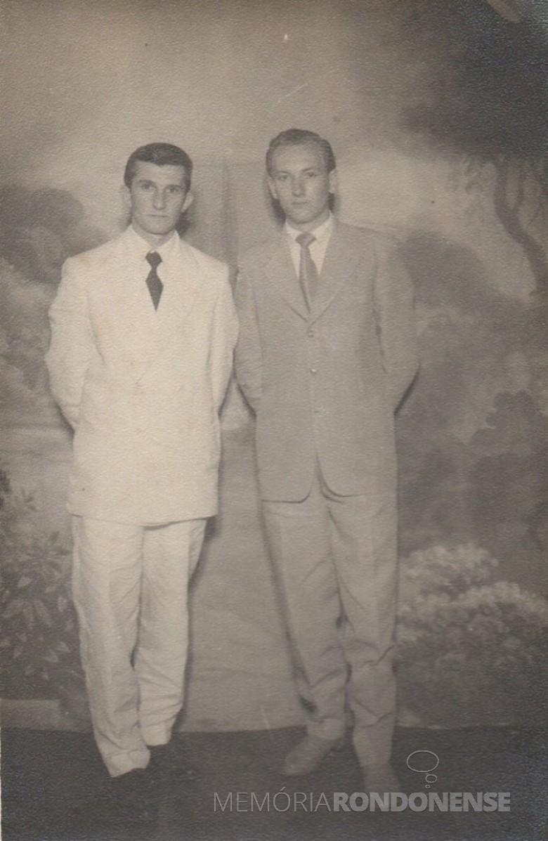Alfredo Bausewein (e) e professor Welzel (irmão do prof. Erich Welzel), segundo diretor da Educação e Cultura, em Marechal Cândido Rondon.