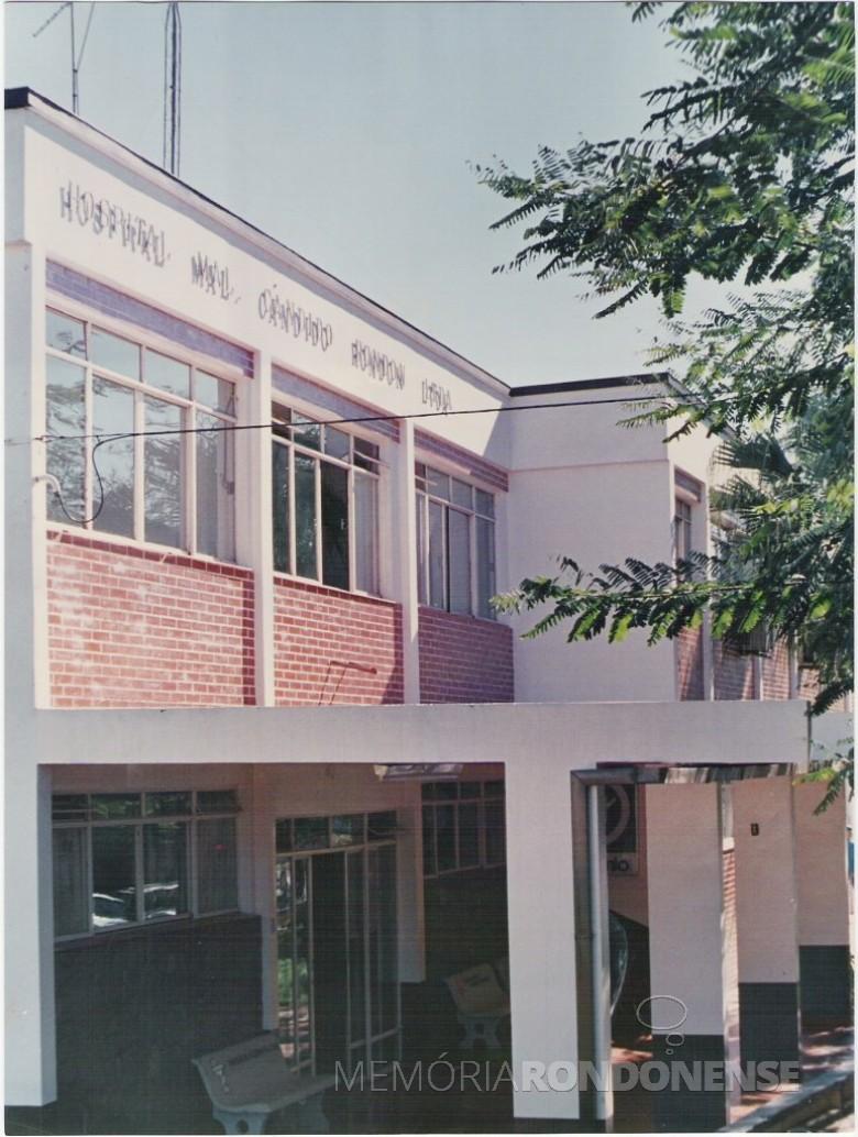 Fachada externa do Hospital Marechal Cândido Rondon, em 1970.