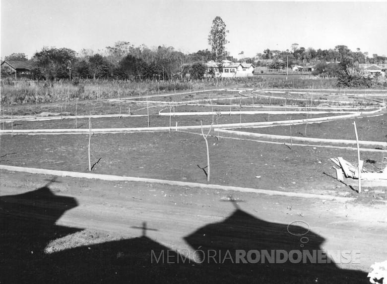 Construção da praça da sede distrital de  Porto Mendes, 1970.
